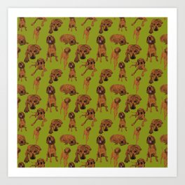 Redbone Coonhound on Moss Art Print