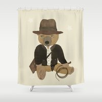 indiana jones Shower Curtains featuring Ted Jones by bri.buckley