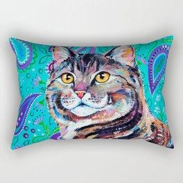 Tabby Cat on Paisley Rectangular Pillow
