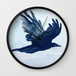 Crow in Flight Wall Clock
