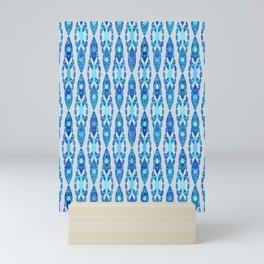 Tribal Batik, Sapphire Blue and Silver Gray Mini Art Print