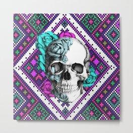 Rose skull on aztec pixel pattern Metal Print
