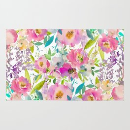 Hand painted pink lavender lilac teal watercolor elegant floral Rug