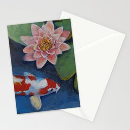 Koi and Water Lily Stationery Cards