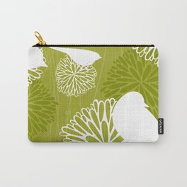 Pom Poms & Birds in Green by Friztin Carry-All Pouch