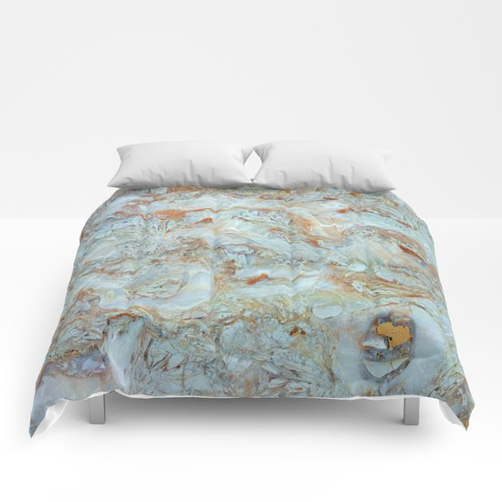 Marble in shades of blue and gold Comforters