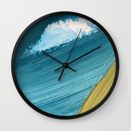 Paradise: a vibrant, minimal, abstract mixed media piece Wall Clock