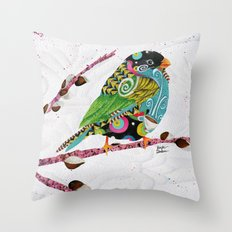 Cafe Swirly Bird. Candy Colored Edition Throw Pillow