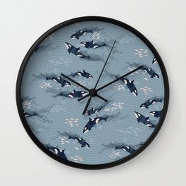 Orca in Motion / blue-gray ocean pattern Wall Clock