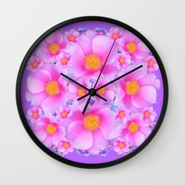Lilac Purple & Pink Roses Wall Clock