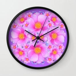 Lilac Purple & Pink Roses Wall Clock