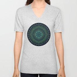 Green Dot Mandala Unisex V-Neck