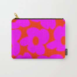 Pink Retro Flowers Orange Red Background #decor #society6 #buyart Carry-All Pouch