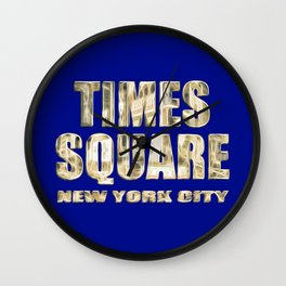 Times Square New York City (gold lettering on blue) Wall Clock
