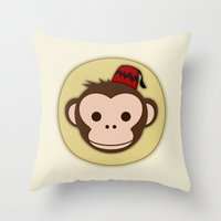 fez Throw Pillows featuring Monkey with Fez by JaggedGenius