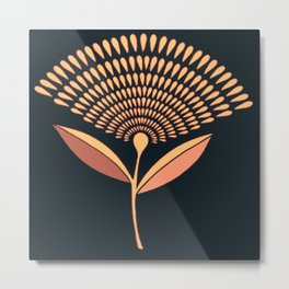 Mid Century Modern Dandelion Seed Head In Coral and Pink Metal Print