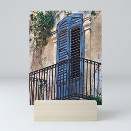 Blue Sicilian Door on the Balcony Mini Art Print