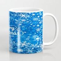 merry christmas Mugs featuring Merry Christmas  by Judy Palkimas