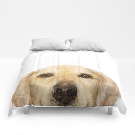 Golden retriever Dog illustration original painting print Comforters