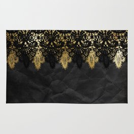 Simply elegance - Gold and black ornamental lace on black paper Rug