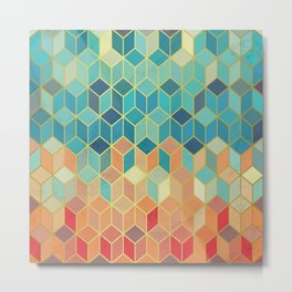 Colorful Squares with Gold - Friendly Colors and Marble Texture Metal Print