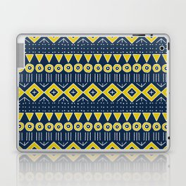 Mudcloth Style 2 in Navy Blue and Yellow Laptop & iPad Skin
