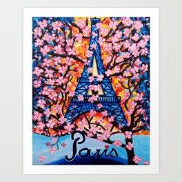 Paris Cherry Blossoms Art Print
