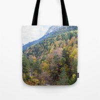 forrest gump Tote Bags featuring Forrest  by Veronika