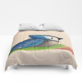 Blue jay on branch Comforters