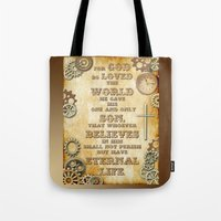 bible verse Tote Bags featuring Steampunk Bible Verse For God So Loved the World by Whimsy and Nonsense