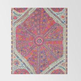 Large Medallion Suzani  Antique Uzbekistan Embroidery Print Throw Blanket