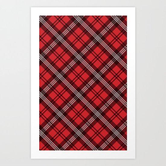 Scottish Plaid (Tartan) - Red Art Print