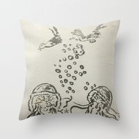 under the sea Throw Pillows featuring Under The Sea Sketch by ANoelleJay