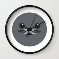 seal Wall Clocks featuring Seal by Andymako