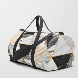 Marble Triangles 2 - Black and White Duffle Bag