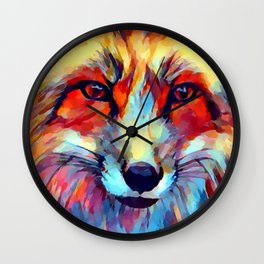 Fox Watercolor 2 Wall Clock