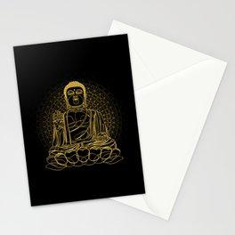 Golden Buddha on Black Stationery Cards