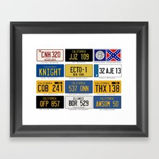 Famous Number Plates Framed Art Print