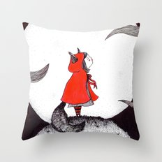 Red Riding Howl Throw Pillow