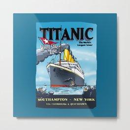Titanic's - Inaugural Travel Poster 1912 - Cartoonish Interpretation Metal Print