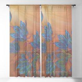 """Blue flowers on orange silk"" (Air Spring at night) Sheer Curtain"