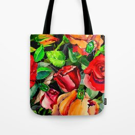 Green Rose Chafer Beetles Amidst the Garden Tote Bag