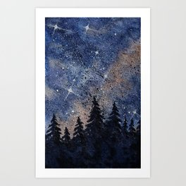 Pine trees and galaxies watercolor Art Print