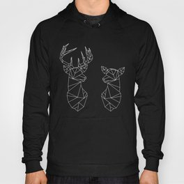 Geometric Stag and Doe (White on Black) Hoody