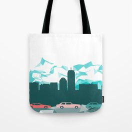 City, mountain and cars Tote Bag