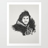 jon snow Art Prints featuring Jon Snow (Game of Thrones) by Goat Robot