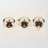 evil Area & Throw Rugs featuring No Evil Pug  by Huebucket