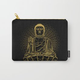 Golden Buddha on Black Carry-All Pouch