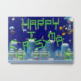 Happy Christmas Mario Pipes Metal Print