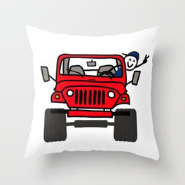 Jeep Wave Boy - Red Throw Pillow